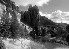 Crooked River - Smith Rocks - Oregon 2 BW (Don Thoreby) Tags: oregon pacificnorthwest wilderness rockclimbing bendoregon crookedriver smithrocks deschutescounty riverscene smithrocksstatepark terrebonneoregon