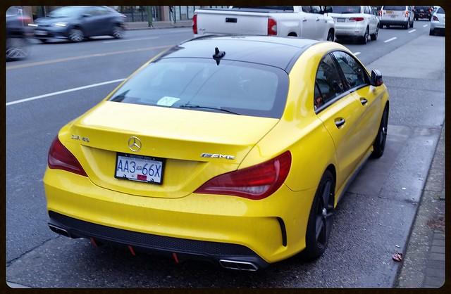 canada yellow sedan mercedes benz bc c class burnaby amg cla45