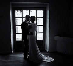 The Embrace (scrimmy) Tags: wedding blackandwhite france monochrome groom bride marriage weddingdress bridalportrait weddingphotography hautegaronne