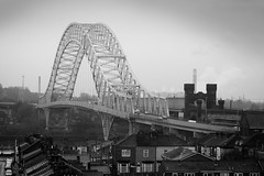 Runcorn - Widnes bridge 01 jan 16 (Shaun the grime lover) Tags: road bridge monochrome river bridges rail mersey runcorn widnes silverjubilee