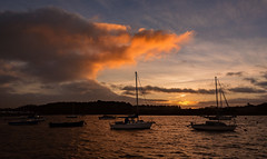 Dawn on the River Deben at High Tide (cliveg004) Tags: sea sky clouds sunrise river boats dawn suffolk estuary woodbridge hightide riverdeben