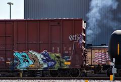(o texano) Tags: bench graffiti texas houston trains boise cbs freights benching