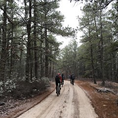 62 miles in the pines, add in some snow #priceless #weavercycleworks #custombicycle #ridethepines
