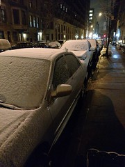 first snow (KLGreenNYC) Tags: nyc winter snow cars students morningsideheights genitalia