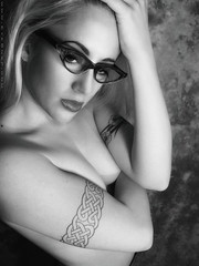 Marissa 22-07-01 (EYEsnap_Photography) Tags: portrait blackandwhite sexy glasses topless marissa eyewear