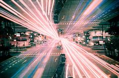 parallel highways turquoise version (Hodaka Yamamoto) Tags: longexposure film car night lomo lomography highway doubleexposure turquoise double lomolca multipleexposure negative filmcamera doubles multiexposure filmphotography