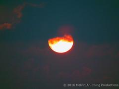 Yesterday's Eerie Hazy Sunset (macprohawaii) Tags: sunset sky sun clouds hawaii haze honolulu vog fujifinepixhs10
