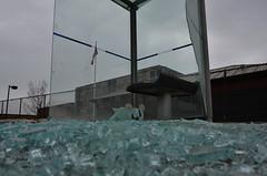 Smashed Bus Shelter (pokoroto) Tags: winter canada bus calgary alberta smashed february shelter 2016 2     kisaragi    wearmoreclothesmonth 28