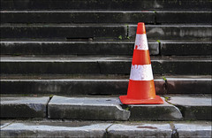 Monsieur Boullu (chando*) Tags: brussels broken stairs steps streetphotography bruxelles escalier parcducinquantenaire trafficcone marches cass cne
