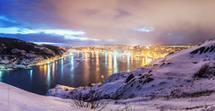 winter panorama of St. John's harbour, Newfoundland (tuanland) Tags: city winter panorama cloud snow canada cold skyline night port newfoundland landscape evening twilight nikon scenery downtown cityscape waterfront harbour dusk hill wide stjohns panoramic bluehour signalhill nfld atlanticcanada d600 stjohnsharbour newfoundlandandlabrador downtownstjohns nikond600