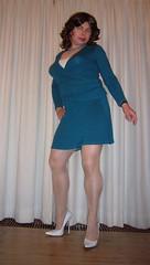 cyan skirt-suit (Barb78ara) Tags: pumps highheels heels secretary stilettoheels pantyhose nylon nylons skirtsuit wraptop whiteheels nylonpantyhose highheelpumps stilettopumps whitepumps stilettohighheels tgirlsecretary cyantop cyanskirt
