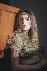 (akimuby) Tags: flowers portrait people sunlight floral girl wire model princess copper babysbreath harshlight rubyjames