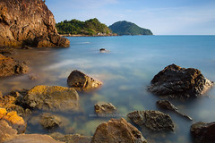 Seascape of Khung Wiman Bay (baddoguy) Tags: longexposure blue cliff mountain seascape motion water horizontal thailand outdoors photography underwater smooth tranquility nopeople adventure copyspace reef undersea scenics cloudsky colorimage locallandmark beautyinnature rockobject