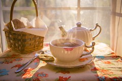 Tea with sunset (Andrezza Haddaway) Tags: sunset cup tea girly relaxing steam kettle lightning warming