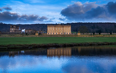Chatsworth House At Dusk (jerryms) Tags: blue colour green water clouds reflections river gold shot dusk 5 derbyshire olympus em chatsworth omd