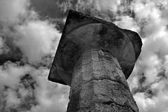 Temple of Hera Doric Column (PhillMono) Tags: travel white black heritage history monochrome museum sepia temple ancient nikon order empty pillar ruin hellas games tourist greece olympia restored column preserved olympic dslr doric relic hera hellenic d7100