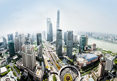 Shanghai Pudong Panorama (pfn.photo) Tags: summer panorama skyline architecture day cityscape skyscrapers shanghai towers bluesky clearview swfc megacity shanghaitower nosmog