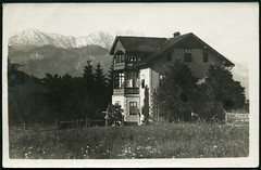 Archiv D698 Haus in Tirol bei Kitzbhel, 1925 (Hans-Michael Tappen) Tags: 1920s tirol scenery outdoor balkon fenster natur haus veranda architektur landschaft 1925 blumenwiese kitzbhel bienenstock baustil 1920er fensterlade archivhansmichaeltappen