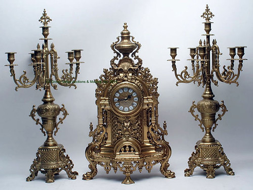 3 Piece German Clock Brass Garniture Set - $231.00 (Sold April 24, 2015)