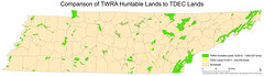 Comparison TWRA Hunting lands with TDEC lands (Chuck Sutherland) Tags: public map tennessee hunting cartography land esri publicland arcmap tdec twra tennesseewildliferesourceagency tennesseedepartmentofenvironmentandconservation huntableland