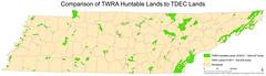 Comparison TWRA Hunting lands with TDEC lands (Chuck Sutherland) Tags: public map tennessee hunting cartography land esri publicland arcmap tdec twra tennesseewildliferesourceagency tennesseedepartmentofenvironmentandconservation huntableland