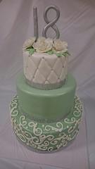 3 Tier 18th Birthday Cake (tasteoflovebakery) Tags: birthday white 3 green cake sparkles mint 18th bling tier classy