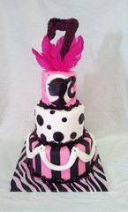 Barbie Birthday Cake (tasteoflovebakery) Tags: birthday pink white black girl cake kids stripes barbie polka dot