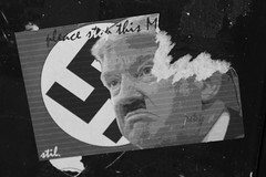 Signpost Sticker in Belgium (frankieleon) Tags: election sticker europe belgium flag president political politics nazi hitler protest bad evil dump presidential american donaldtrump ban republican trump protesting europeanunion elect banning 2016 americanway dumptrump