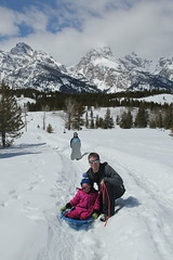 Daddy and Jovie in the snow (Aggiewelshes) Tags: travel winter snow april snowshoeing wyoming olsen jacksonhole jovie grandtetonnationalpark 2016 gtnp taggartlaketrail