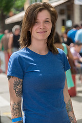 Girl in a Blue Shirt (Ron Scubadiver's Wild Life) Tags: street woman chicago girl nikon candid style tattoos approved 24120