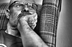 "Thinking about tomorrow ! (CJS*64 ""Man with a camera"") Tags: people blackandwhite bw monochrome mono blackwhite nikon thoughts thinking ponder nikkor 50mmf18d spectacles checks cjs whiteandblack whiteblack nikkorlens 50mmf18lens selfi 50mmnikkorlens nikond7000 craigsunter cjs64"