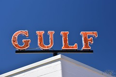 Gulf - Explored.  Thank you! (Joanne Dale) Tags: blue sky orange sign vintage neon gulf gas cloudless servicestation joannedale nikond7200
