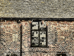 The Tudor Barn (Steve Taylor (Photography)) Tags: uk greatbritain roof red england brown black reflection building brick london texture window wall barn unitedkingdom union tiles gb bunting eltham downpipe wellhall pleasaunce leadedlightstudor