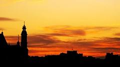 sunset (Darek Drapala) Tags: city sunset red sky sun architecture evening cityscape poland polska panasonic warsaw oldtown warszawa skyskape panasonicg5
