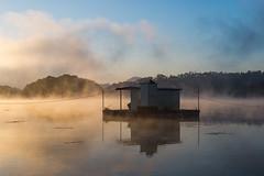Mystic River (johnsteelephoto) Tags: mist misty river fishing reservoir fishinghut  gosamreservoir