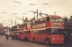 BUT 1357 & prewar Crossleys at Piccadilly. (island traction) Tags: manchester corporation empire ashton trolleybus crossley trolleybuses