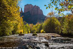 Oak Creek & Cathedral Rock, Sedona (IanLyons) Tags: travel trees arizona usa nature water river landscape morninglight scenic sedona cottonwood northamerica cathedralrock formations tranquilscene oakcreek redrockcampground redrockcountry