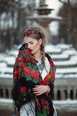 Russian breeze (ravenajuly) Tags: winter red woman snow girl fashion outdoors lights model nikon russia pigeons lips accessories shawl pigtails breeze russian narutal khokhloma russiancosplay ravenajuly
