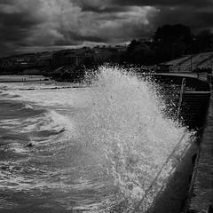 The Promenade (another_scotsman) Tags: blackandwhite seascape monochrome landscape waves stormy shore promenade northwales rhos