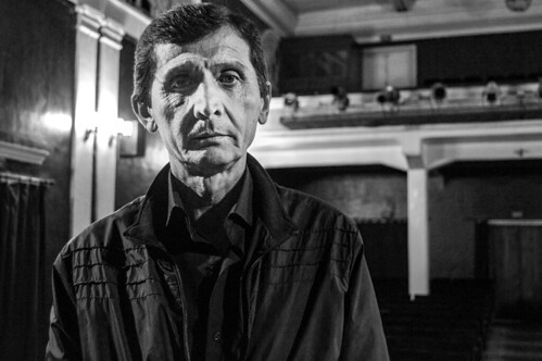 Akhmet has worked at the Mayakovsky Theater as a stagehand since 1977