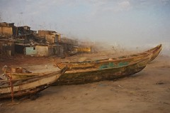 Accra fishing boats and village (Pejasar) Tags: africa sky mist art beach fog photoshop painting fishing village artistic atlantic ghana westafrica accra