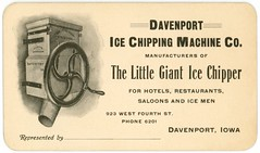 Little Giant Ice Chipper, Davenport Ice Chipping Machine Company, Davenport, Iowa, 1900s (Alan Mays) Tags: old ice vintage ads paper advertising cards typography antique illustrations iowa ephemera businesscards ia type machines names davenport advertisements fonts printed 1900s fourthstreet companies typefaces manufacturers secondstreet 2ndstreet shavers goff fillintheblanks chippers fagoff icechippers davenporticechippingmachinecompany littlegianticechipper icechippingmachines iceshavers