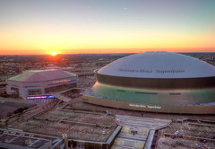 The Mercedes-Benz Superdome and the Smoothie King Center (ap0013) Tags: new sunset mercedes benz la orleans louisiana king stadium neworleans super center arena dome nola smoothie superdome neworleansla neworleanslouisiana mercedesbenzsuperdome smoothiekingcenter