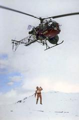 Airlifting stuntman Colin Skeaping dressed as Luke Skywalker (Tom Simpson) Tags: winter snow cold film norway vintage movie starwars helicopter lukeskywalker behindthescenes hoth airlift stuntman finse theempirestrikesback colinskeaping