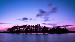 Blue hour (Wizmatt) Tags: road new pink blue trees sunset england sky moon nature water silhouette clouds forest landscape photography pond long exposure colours matthew wildlife south hampshire stop filter hour ten hitech hatchet sigma1770 wisby canon70d beaulei