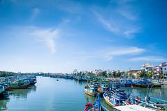 Fishing village (Quang577) Tags: ocean clouds river boats fisherman dock ships sunny bluesky vietnam clearsky fishingvillage berthing phanthiet muine