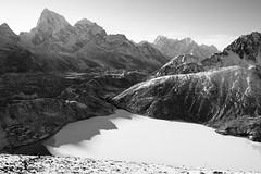 Shadows on a frozen lake (D A Scott) Tags: nepal camp lake mountains trekking trek asia everest base gokyo hilmalayas