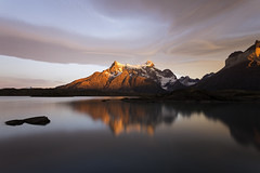 Sunrise at Nordenskjld Lake (surfneng) Tags: chile park sky patagonia mountain snow southamerica water clouds lago rocks outdoor horns torresdelpaine painegrande nordenskjldlake