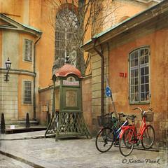 .. the phonebox .. (Kerstin Frank art) Tags: road city windows bike buildings stockholm bikes vehicle oldcity phonebox oldown kerstinfrankart kerstinfranktexture