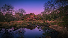Thurstaston common-1 (jasonhudson2) Tags: pink trees moon colour water night reflections landscape sandstone purple refelections xt1